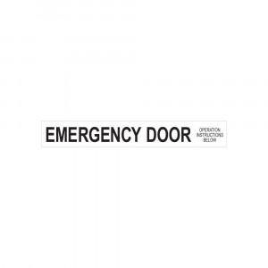 Emergency Door Operation Instructions Below Decal