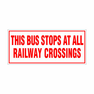 Railway Crossing Stop Decal