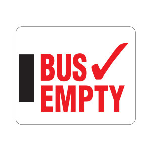 Horizontal Magnetic Bus Empty Sign with Magnet on Left