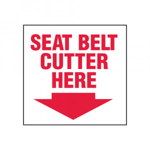 Seat Belt Cutter Here Decal