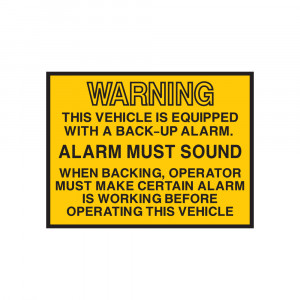 Back-Up Alarm Warning Decal