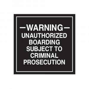 Unauthorized Boarding Warning Decal